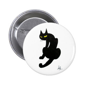 BLACK CAT HALLOWEEN PARTY PINBACK BUTTON