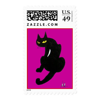 BLACK CAT HALLOWEEN PARTY POSTAGE