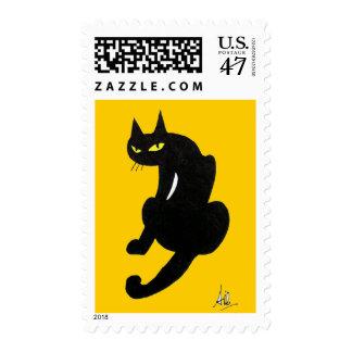 BLACK CAT HALLOWEEN PARTY STAMP