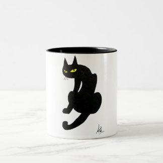 BLACK CAT HALLOWEEN PARTY Two-Tone COFFEE MUG