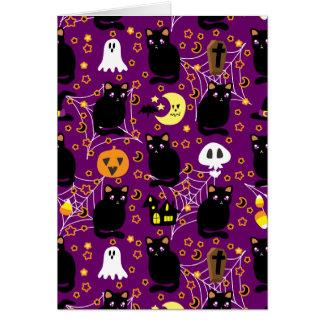 Black Cat Halloween Pattern Greeting Card