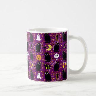 Black Cat Halloween Pattern Classic White Coffee Mug