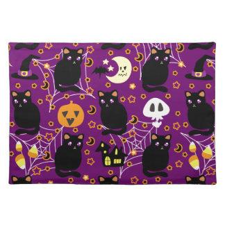 Black Cat Halloween Pattern Place Mats