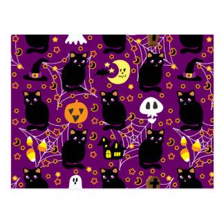 Black Cat Halloween Pattern Postcard