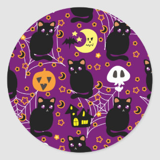 Black Cat Halloween Pattern Classic Round Sticker