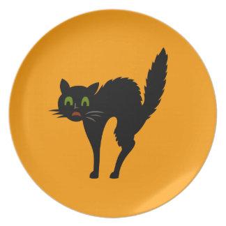 Black Cat Halloween Plate