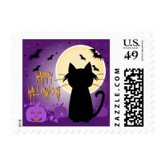 Black Cat Halloween Postage