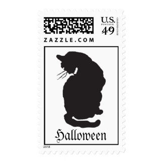 Black Cat Halloween Postage Stamp