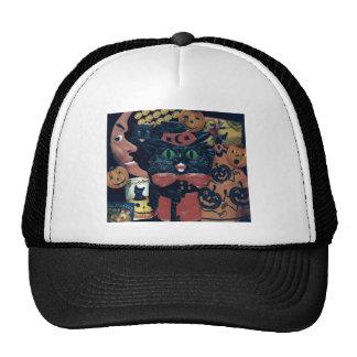 Black Cat Halloween Pumpkin Decorations Trucker Hat