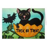 Black Cat Halloween Pumpkin Greeting Card