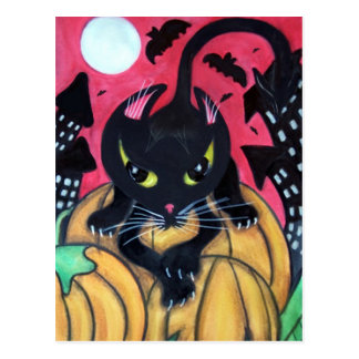 Black Cat Halloween Pumpkin Patch and Bats Postcard
