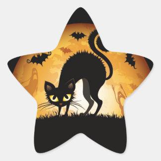 Black Cat Halloween Star Sticker