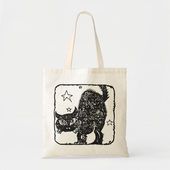 Black Cat Halloween Trick or Treat Tote Bag