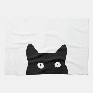 Black Cat Hand Towel at Zazzle