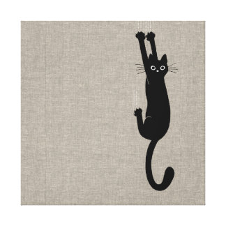 Black Cat Hanging On Canvas Print