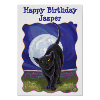 Black Cat Happy Birthday Personalized Party Poster
