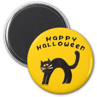 Black Cat Happy Halloween 2 Inch Round Magnet