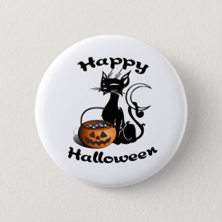 Black Cat Happy Halloween Button