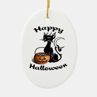Black Cat Happy Halloween Ceramic Ornament