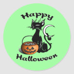 Black Cat Happy Halloween Classic Round Sticker