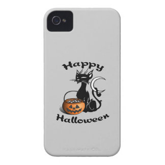 Black Cat Happy Halloween iPhone 4 Case