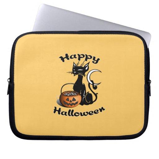Black Cat Happy Halloween Laptop Sleeve