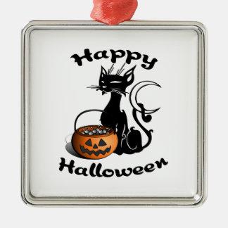 Black Cat Happy Halloween Metal Ornament