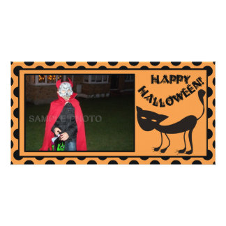 Black Cat Happy Halloween Personalized Photo Card