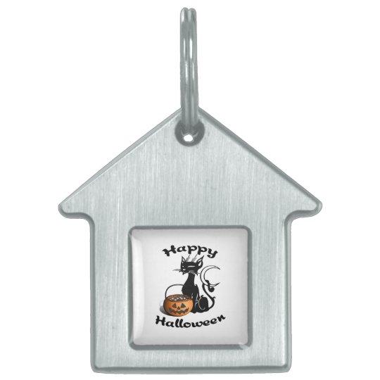 Black Cat Happy Halloween Pet ID Tag
