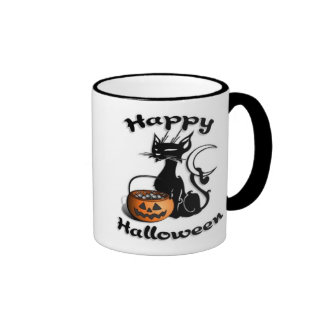 Black Cat Happy Halloween Ringer Mug