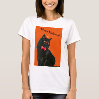 Black Cat Happy Halloween Spaghetti Strap T-Shirt