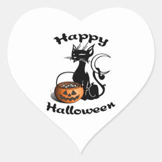 Black Cat Happy Halloween Heart Sticker