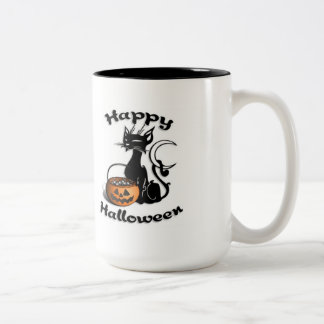 Black Cat Happy Halloween Two-Tone Coffee Mug