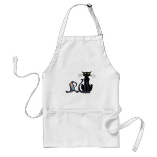 BLACK CAT & HAT by SHARON SHARPE Adult Apron