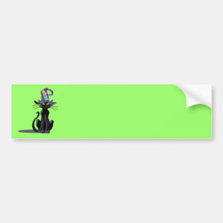 BLACK CAT & HAT by SHARON SHARPE Bumper Sticker