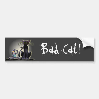BLACK CAT & HAT by SHARON SHARPE Bumper Stickers