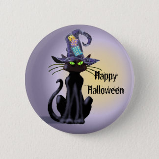 BLACK CAT & HAT by SHARON SHARPE Button