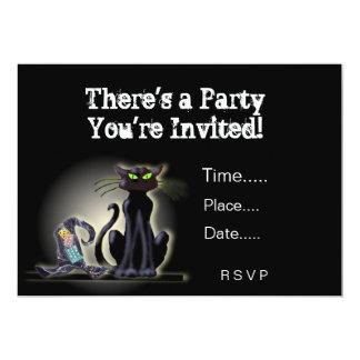 BLACK CAT & HAT by SHARON SHARPE 5x7 Paper Invitation Card