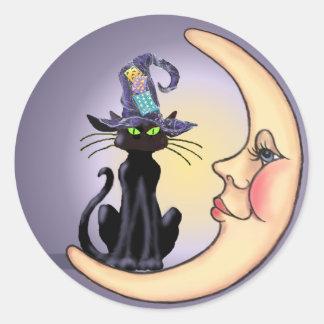 BLACK CAT, HAT & CRESCENT MOON by SHARON SHARPE Classic Round Sticker