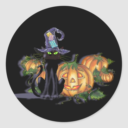 BLACK CAT, HAT & JACK by SHARON SHARPE Classic Round Sticker