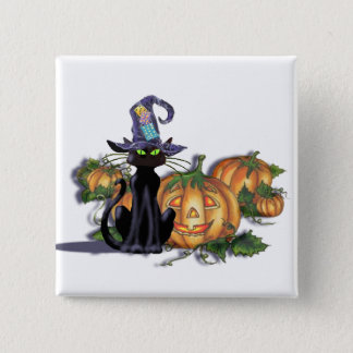 BLACK CAT, HAT & JACK by SHARON SHARPE Pinback Button