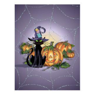 BLACK CAT, HAT & JACK by SHARON SHARPE Postcard