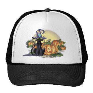 BLACK CAT, HAT,MOON & JACK by SHARON SHARPE Trucker Hat