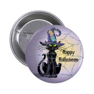 BLACK CAT, HAT & SPIDER WEB by SHARON SHARPE Pinback Button