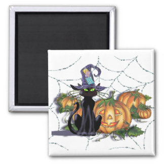BLACK CAT, HAT, WEB & JACK by SHARON SHARPE 2 Inch Square Magnet