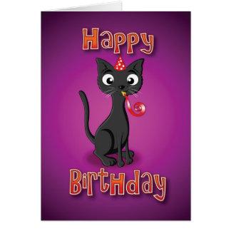 black cat - hat& whistle - happy birthday card