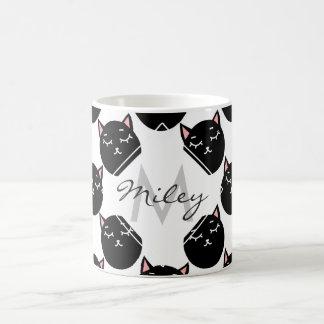 Black Cat Heads Pattern, Feline Design Coffee Mug