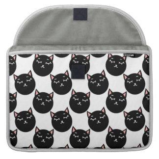 Black Cat Heads Pattern, Feline Design Sleeve For MacBooks