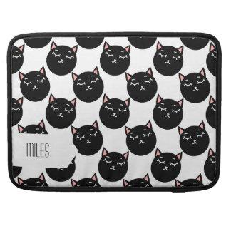 Black Cat Heads Pattern, Feline Design MacBook Pro Sleeve