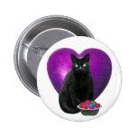 Black Cat Heart Pinback Buttons